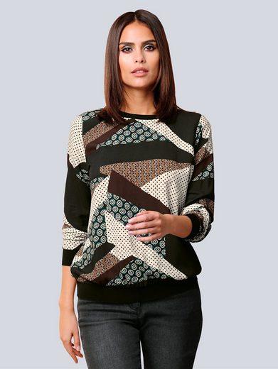 Alba Moda Bluse mit grafischem Minimalprint