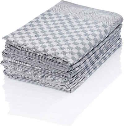 Hometex Premium Textiles Geschirrtuch, (10er Set Geschirrtuch Grubentuch, 100% Baumwolle Zwirn, Sehr saugfähig - Premium Qualität)