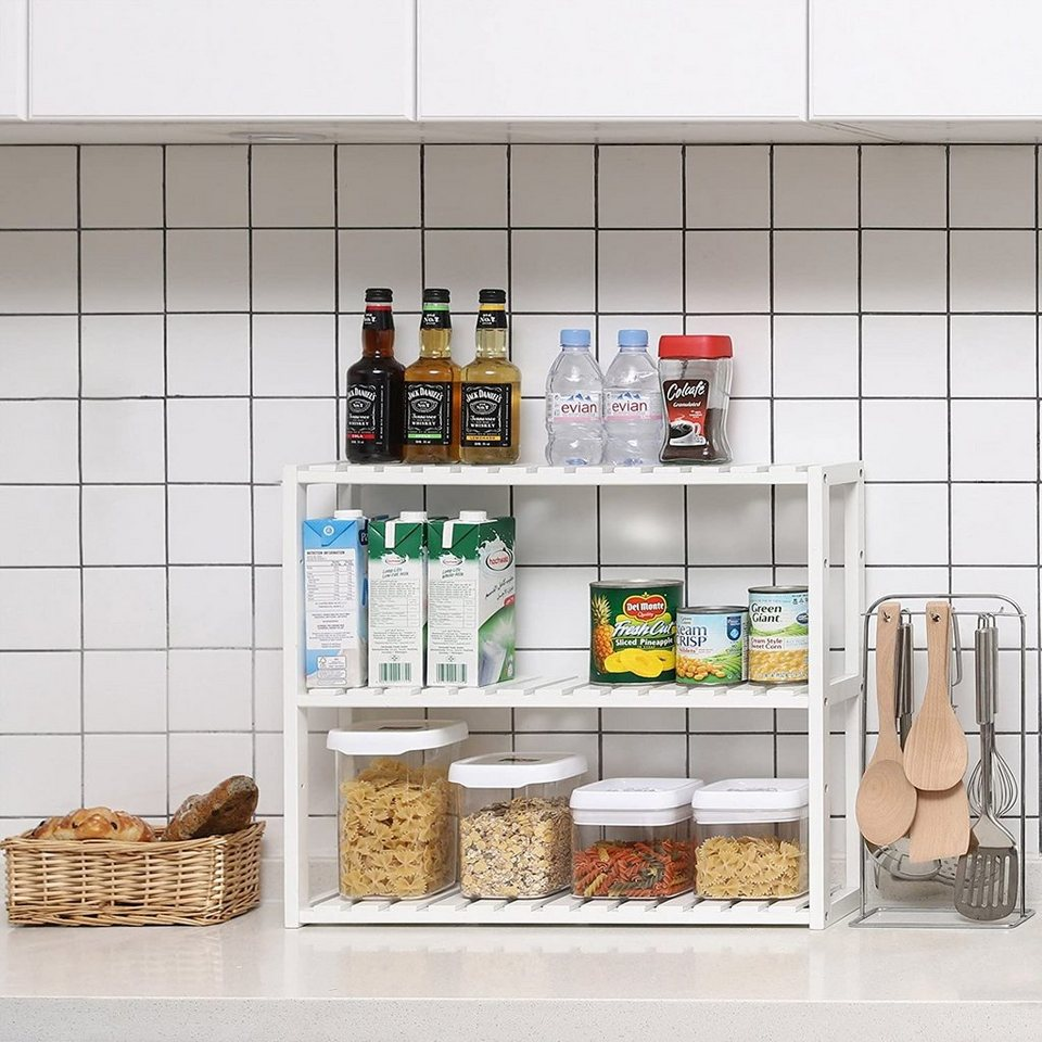 SONGMICS Küchenregal »BCB10W«, Bambus Regal, weiß  OTTO