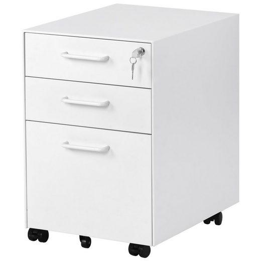 Merax Rollcontainer, Büroschränke, Rolling Kabinett mit abschließbaren Schubladen, stationäre Rack, für Hause & Büro voll montiert