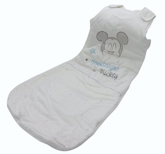 Disney Baby Babyschlafsack (1 tlg), Mickey Mouse 110cm Baumwolle Fußsack Schlafanzug weiß