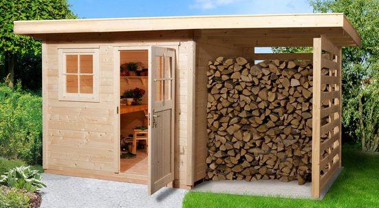 WEKA Set: Gartenhaus »170A Gr.2«, BxT: 430x311 cm, inkl. Anbaudach und Fußboden