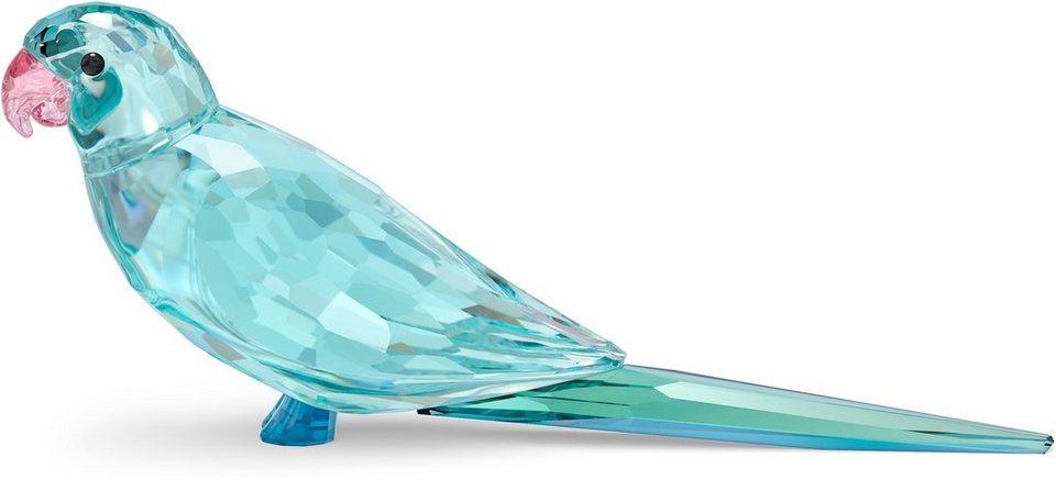 Swarovski Dekoobjekt »Jungle Beats blauer Sittich Paco, 5574519« (1 Stück), Swarovski® Kristall mit schwarzem Emaille