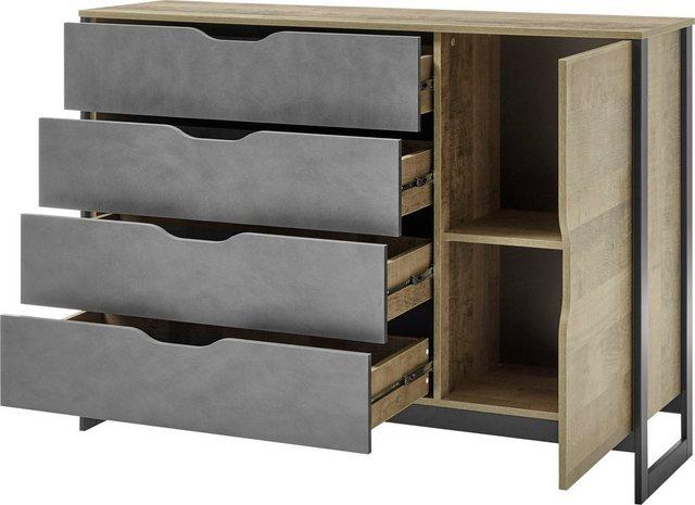 Schlafzimmer Sets - Places of Style Schlafzimmer Set »Malthe«, (Set, 5 St., 2 Nachtkonsolen inkl. Beleuchtung. Bett mit Liegefläche 160x200 cm. Kleiderschrank mit 4 Türen (teilverspiegelt) und 2 Schubladen. Kommode mit 1 Tür und 4 Schubladen), im trendigen Design  - Onlineshop OTTO