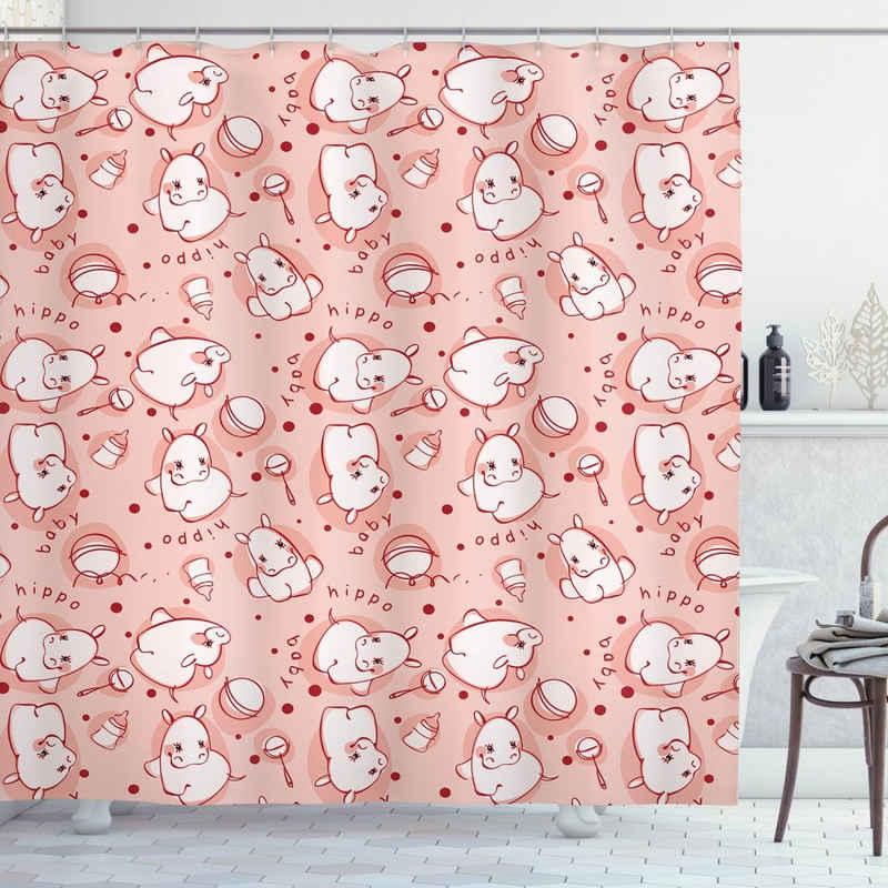 Abakuhaus Duschvorhang »Moderner Digitaldruck mit 12 Haken auf Stoff Wasser Resistent« Breite 175 cm, Höhe 200 cm, Nilpferd Hippo Pattern