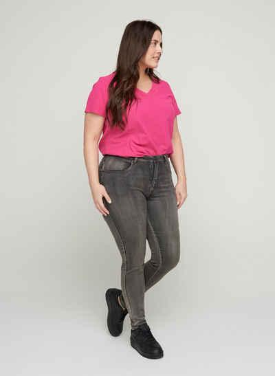 Zizzi Kurzarmbluse Große Größen Damen Einfarbige Bluse aus Baumwolle mit V-Ausschnitt