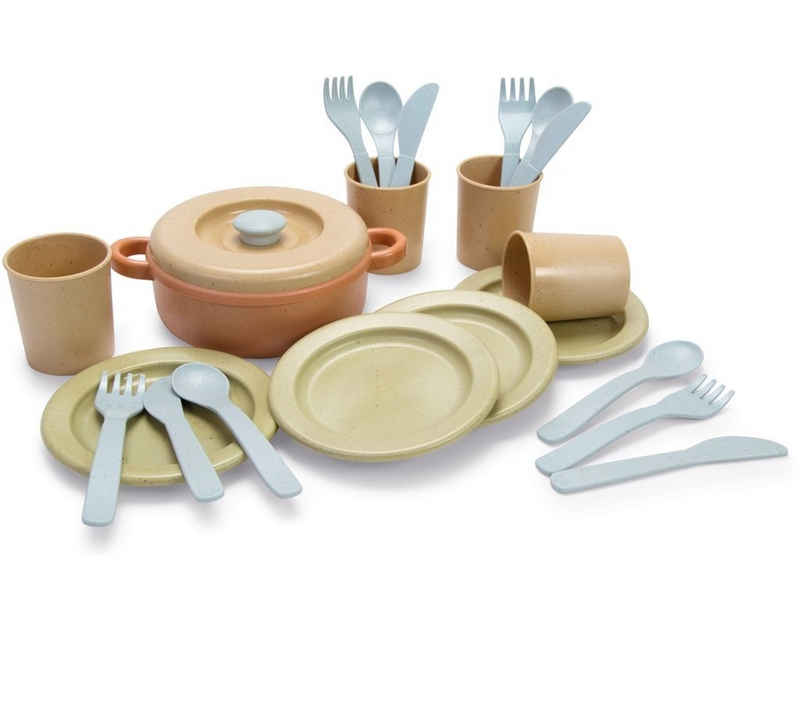 dantoy Spielgeschirr »Dantoy Bio Essservice Kochset Besteck Kinder Lern-Spielzeug Geschenk 22 Teile«, (Set, 22-tlg), aus Bio-Kunststoff