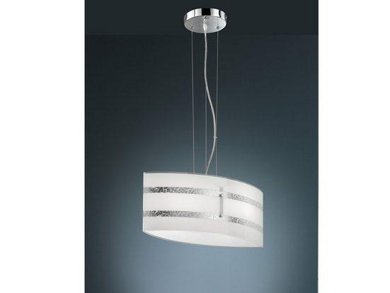 meineWunschleuchte LED Pendelleuchte, Coole Designer Lampe, Silber, Lampenschirm Milch-Glas Weiß, mehrflammig, Wohnzimmer, Esszimmer Lampe hängend, Treppenhaus, Switch Dimmer
