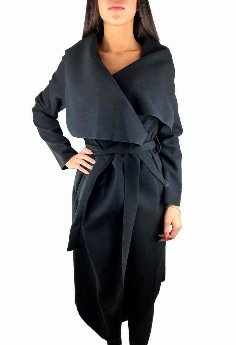 Worldclassca Langmantel »Worldclassca Damen langer Mantel mit Gürtel Wasserfall-Schnitt weich Abendmode Jacke Uni Farben Herbst Winter Trenchcoat Fashion OneSize 36-40«