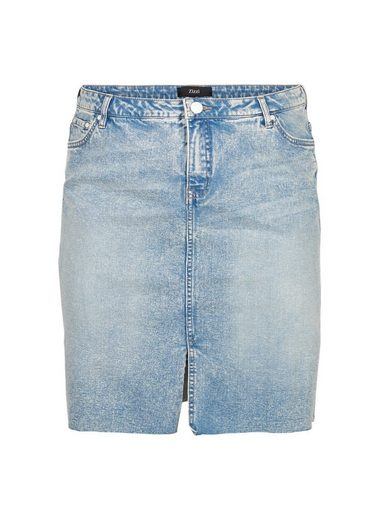 Zizzi Jeansrock Große Größen Damen Denim Rock mit Reißverschluss, Taschen und Schlitz