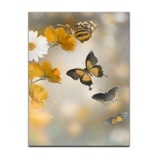 Bilderdepot24 Leinwandbild, Leinwandbild - Aquarell Blumen und Schmetterlinge