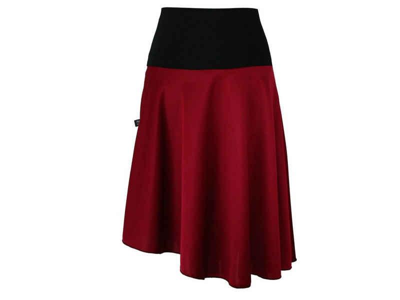 dunkle design Jerseyrock »Asymmetrisch Grau Rot Grün« elastischer Bund