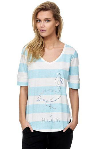 Decay T-Shirt mit schimmerndem Flamingo-Aufdruck