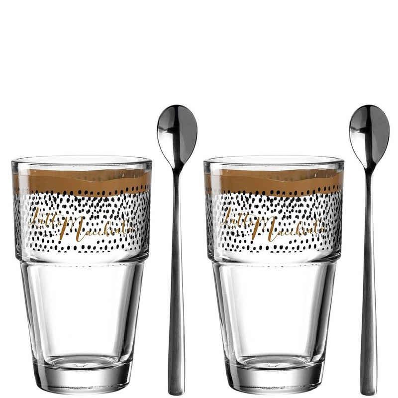 LEONARDO Latte-Macchiato-Glas »Latte Macchiato/Löffel 4-teilig Solo«, Glas