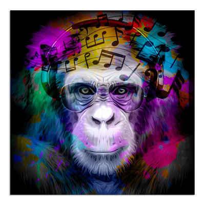 """Dekoli Leinwandbild »""""Affe mit Kopfhörer und Brille"""" Modern Art - moderner Kunstdruck - XXL Wandbild«, Leinwandbild geeignet für alle Wohnbereiche"""