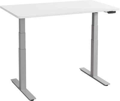 Balderia Schreibtisch, Höhenverstellbarer Schreibtisch Elektrisch - Verstellbares Tischgestell inkl. Tischplatte - Höhe 65-131 cm - Fläche 120 x 60 cm, Grau/Weiß