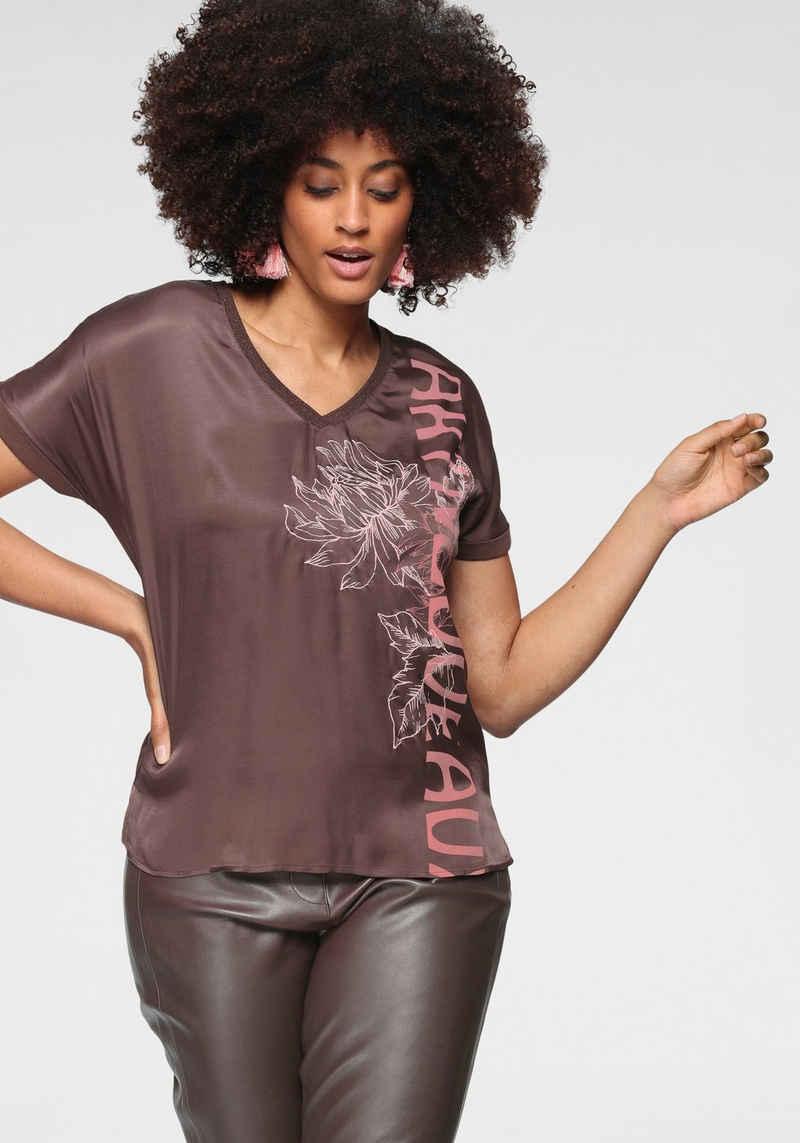 GERRY WEBER Shirtbluse mit Motivdruck Blüte und Schriftzug