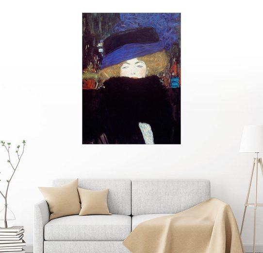 Posterlounge Wandbild, Frau mit Hut und Federboa