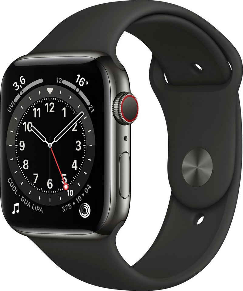 Apple Series 6 GPS + Cellular, Aluminiumgehäuse mit Sportarmband 44mm Watch (Watch OS), inkl. Ladestation (magnetisches Ladekabel)
