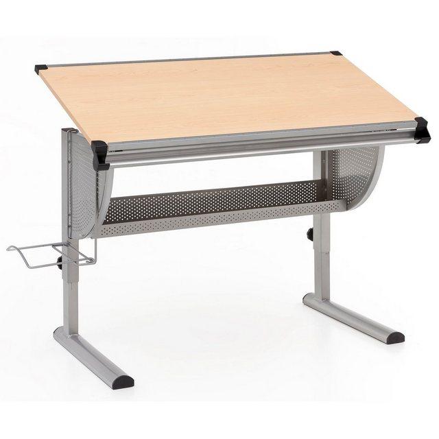 Kindertische - Wohnling Schreibtisch »WL5.125«, Design Kinderschreibtisch MAXI Holz 120 x 60 cm Buche Mädchen Schülerschreibtisch neigungs verstellbar Kinder höhenverstellbar  - Onlineshop OTTO