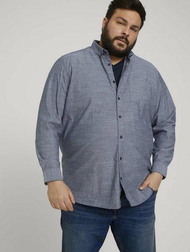TOM TAILOR Men Plus Langarmhemd »Hemd mit Bio-Baumwolle und Button-Down-Kragen«