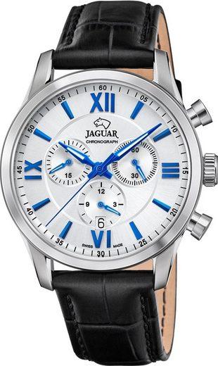 Jaguar Chronograph »UJ884/1 Jaguar Herren Armbanduhr ACM«, (Analoguhr), Herrenuhr rund, groß (ca. 41mm), Edelstahl, Lederarmband, Sport-Style