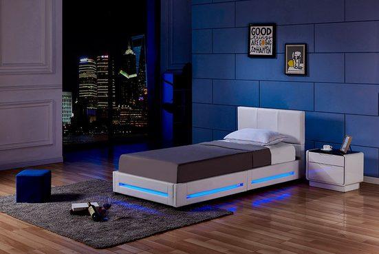HOME DELUXE Bett »LED Bett Asteroid« (Set, 2-St., Bettkasten und Lattenrost), LED Beleuchtung, per Fernbedienung steuerbar, Variante mit oder ohne Matratze