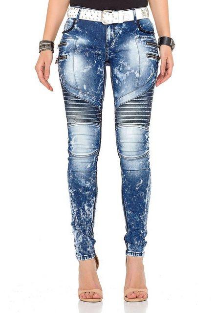 Hosen - Cipo Baxx Slim fit Jeans mit stylischen Ziernähten › weiß  - Onlineshop OTTO