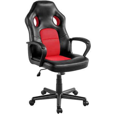 Yaheetech Chefsessel, Racing Gaming Stuhl Bürostuhl Drehstuhl Sportsitz höhenverstellbar, gepolsterte Armlehnen, Wippfunktion, Kunstleder