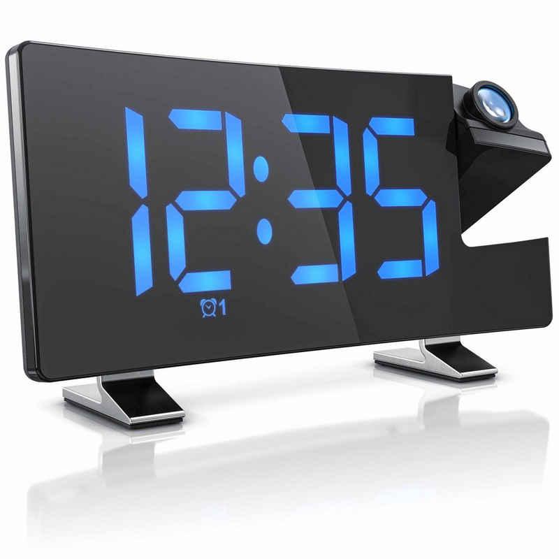 Brandson Projektionswecker Projektions Radio Wecker digital Autodimmer – Snooze – 15 FM Radiospeicher