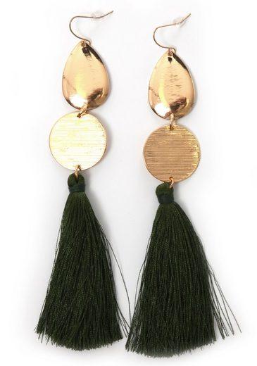 J.Jayz Paar Ohrhaken »vergoldet und mit grüne Quasten«