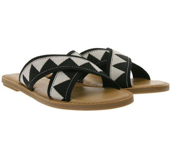 TOMS »TOMS Viv Pantolette modische Damen Sommer-Schuhe Ethno-Style Schlappen Schwarz/Weiß« Sandale
