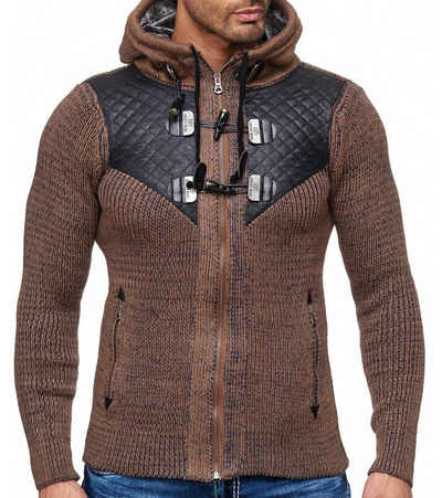 Rusty Neal Hoodie »RUSTY NEAL Strick Kapuzen-Sweater figurbetonter Zip-Hoodie Herren Pullover Trendpulli Braun«
