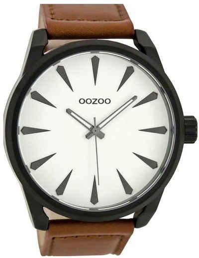 OOZOO Chronograph »UOC8226 Oozoo Herren Armbanduhr braun«, (Analoguhr), Herren Armbanduhr rund, Lederarmband braun, Fashion