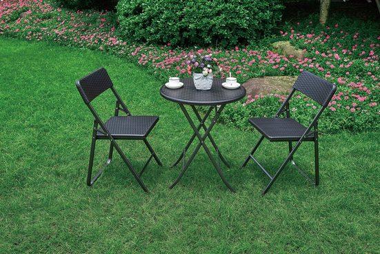 Garden Pleasure Gartenmöbelset »VENTANA«, (Set, 3-tlg), mit rundem Tisch, für den Balkon geeignet