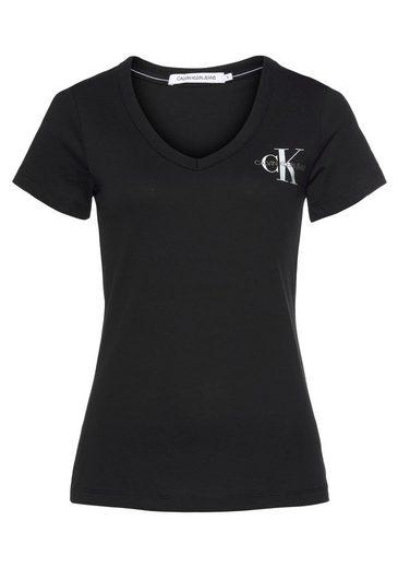 Calvin Klein Jeans V-Shirt »SMALL CHEST MONOGRAM VN TEE SS« mit Calvin Klein Logo-Schriftzug & Monogramm