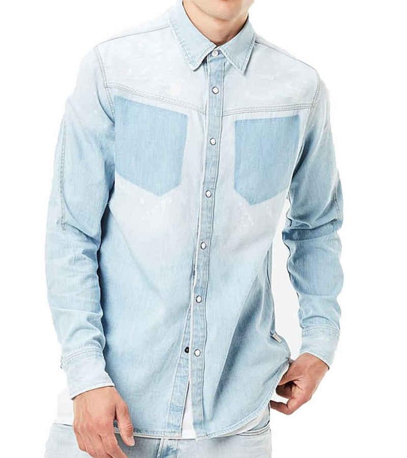 G-Star RAW Hemd »G-Star RAW Hemd trendiges Herren Jeans-Hemd mit Used-Waschung Freizeit-Hemd Blau«