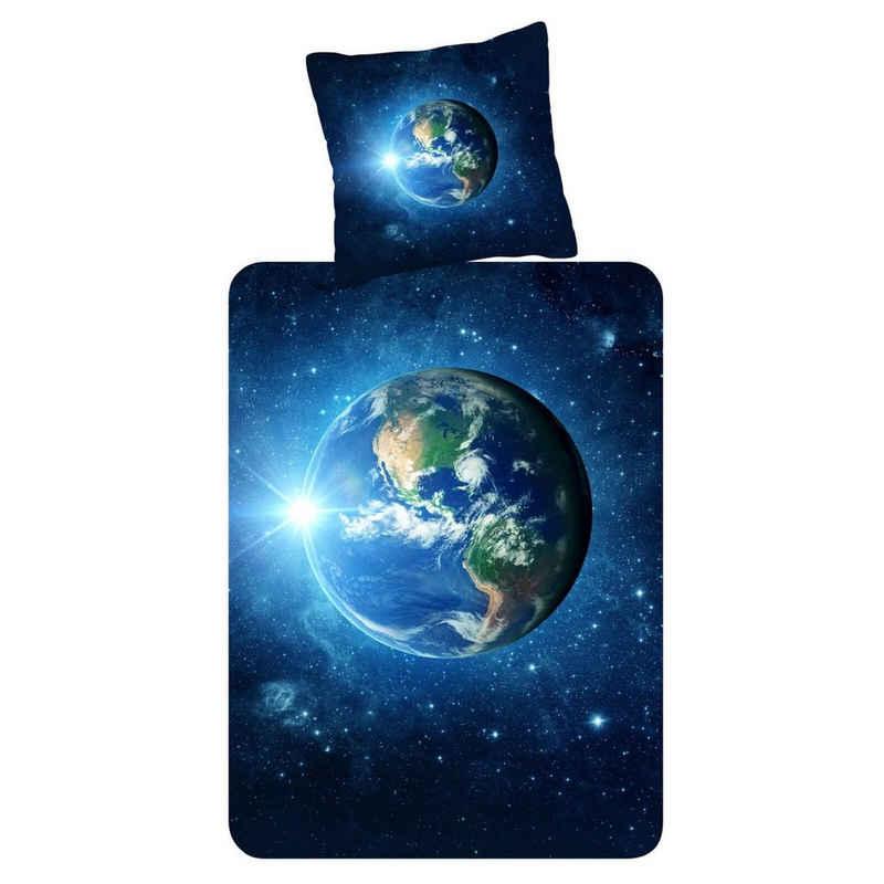 Bettwäsche »Earth Blau Trendy Bedding«, ESPiCO, Weltkugel Kosmos Sonnenstrahlen