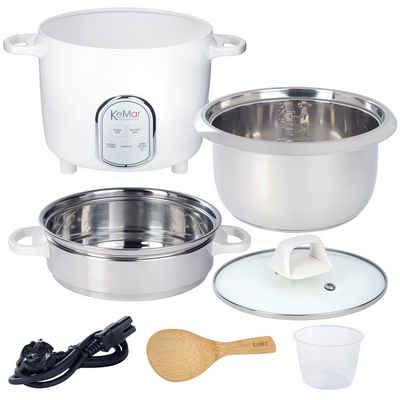 KeMar Kitchenware Reiskocher KRC-175, 500 W, Edelstahltopf, Glasdeckel, Edelstahl Dämpfeinsatz, 5 Programme