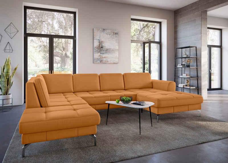 sit&more Wohnlandschaft »Bendigo V«, inklusive Sitztiefenverstellung, Bodenfreiheit 15 cm, wahlweise in 2 unterschiedlichen Fußfarben