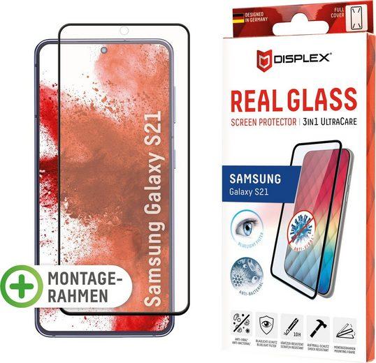 Displex »DISPLEX Ultra Care Glass Panzerglas für Samsung Galaxy S21 (6,2), 10H Tempered Glass, mit Montagerahmen, Full Cover« für Samsung Galaxy S21, Displayschutzglas, 1 Stück