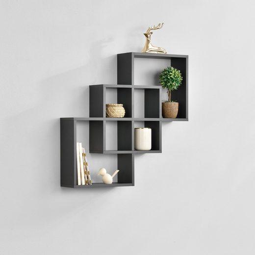 en.casa Wandregal, »Riisør« Design Hängeregal dunkelgrau