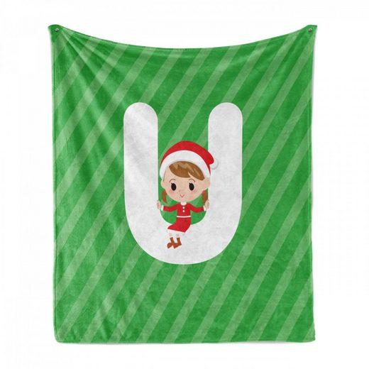 Foulard »Gemütlicher Plüsch für den Innen- und Außenbereich«, Abakuhaus, Weihnachtsalphabet Letter U-Layout