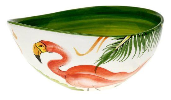 Lashuma Servierschale »Flamingo«, Keramik, (1-tlg), Salatschale mit Schnabel, Servierschüssel Ø 20 cm