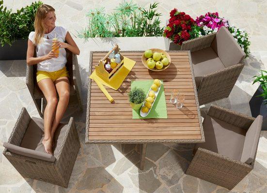MERXX Gartenmöbelset »Verona Wicker«, 9-tlg., 4 Sessel, Tisch 110x110, Polyrattan/Akazie