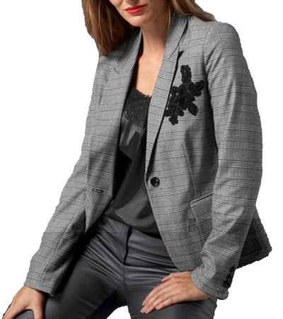 GUIDO MARIA KRETSCHMER Kurzblazer »GUIDO MARIA KRETSCHMER Blazer stylische Damen Kurz-Jacke mit Glencheck-Muster Sakko Grau«