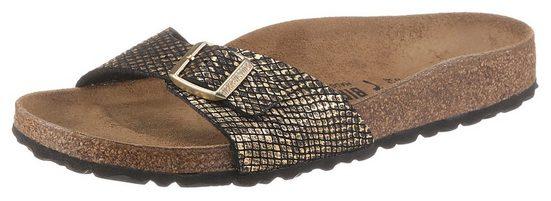 Birkenstock »Madrid Shiny Python« Pantolette mit vorgeformtem Fußbett, Schuhweite: schmal
