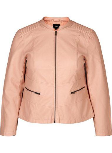Zizzi Lederimitatjacke Große Größen Jacke aus Lederimitat mit Reissverschluss und Taschen