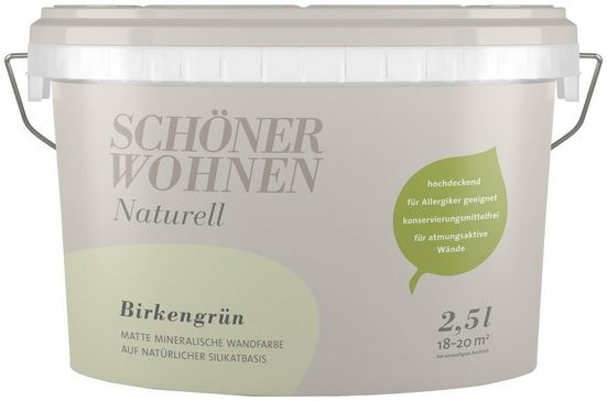 SCHÖNER WOHNEN-Kollektion Wand- und Deckenfarbe »Naturell Birkengrün«, 2,5 l