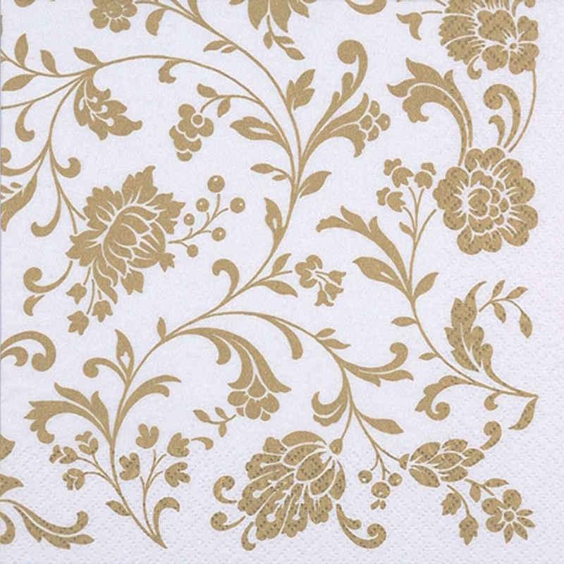 Linoows Papierserviette »20 Servietten goldene Arabesken, Blütenranken«, Motiv Arabesken, Blütenranken Gold auf Weiß